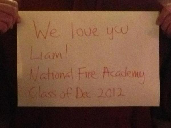 A brother from South Metro Fire sent this photo from his class at the National Fire Academy in Maryland. It has folks from all over the country - also meeting Liam for the first time.