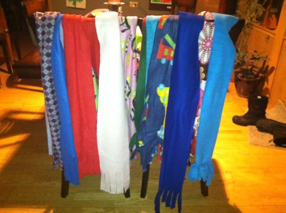 Scarves made for some students in South Dakota by the Smith family.